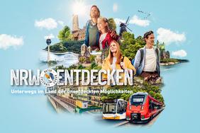 Eine Collage aus verschiedenen Sehenswürdigkeiten in NRW und Leuten auf Wandertour. Auf dem Bild steht der Text: NRW entdecken. Unterwegs im Land der unentdeckten Möglichkeiten.